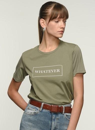 NGSTYLE Kadın Baskılı  Tişört NGKSS21TS0023 Haki